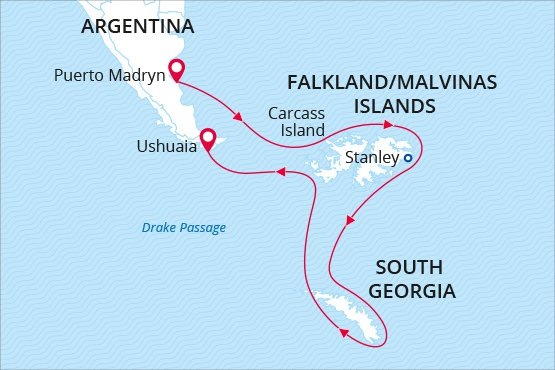 Sea Spirit Antarctica Cruise Southern Explorations - Argentina map puerto madryn