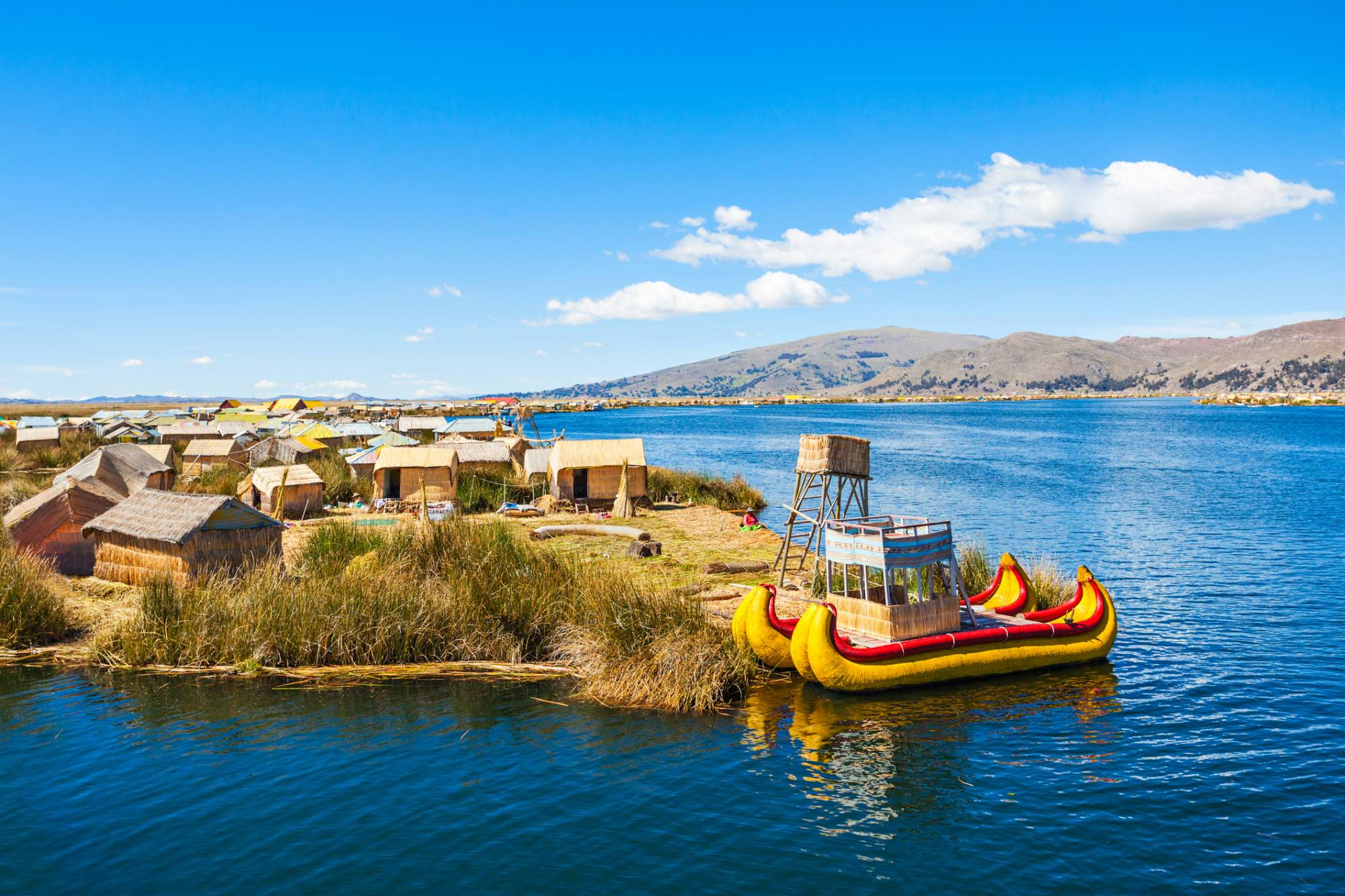 Traditional huts on Lake Titicaca
