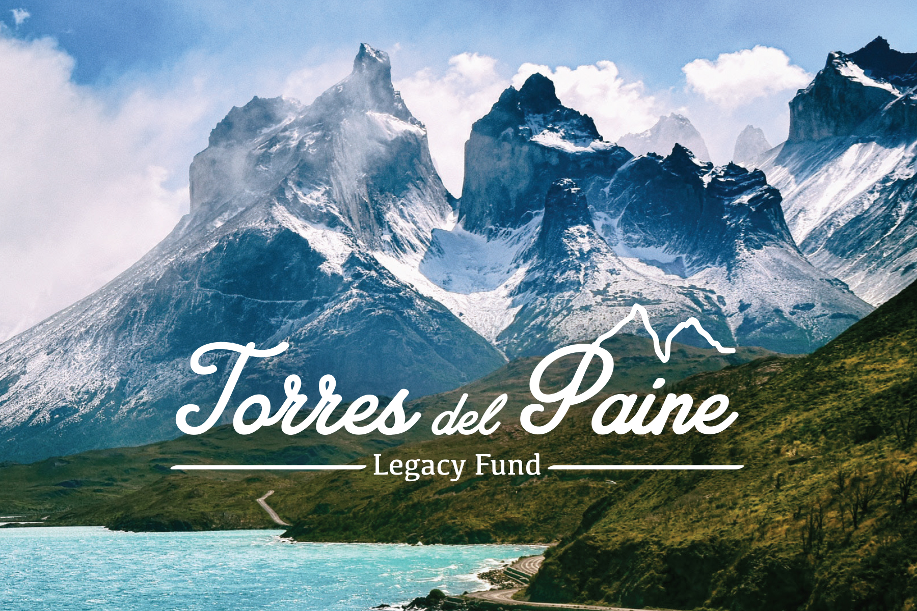 Torres del Paine Legacy Fund logo over Patagonia landscape