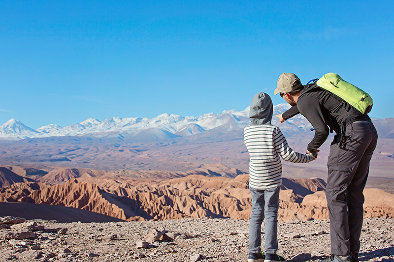 Father and son in the Atacama desert
